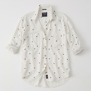 Abercrombie & Fitch Heart Print Boyfriend Shirt